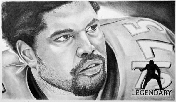 Nfl Art Print featuring the drawing Jonathan Ogden by Don Medina
