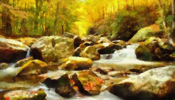 Looking Down Little River In Autumn Art Print featuring the painting Looking Down Little River In Autumn by Dan Sproul