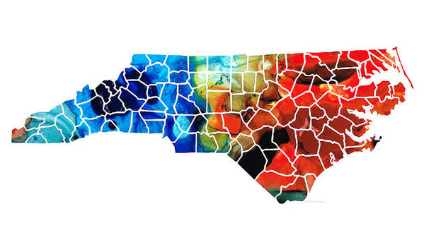 North Carolina Art Print featuring the painting North Carolina - Colorful Wall Map By Sharon Cummings by Sharon Cummings