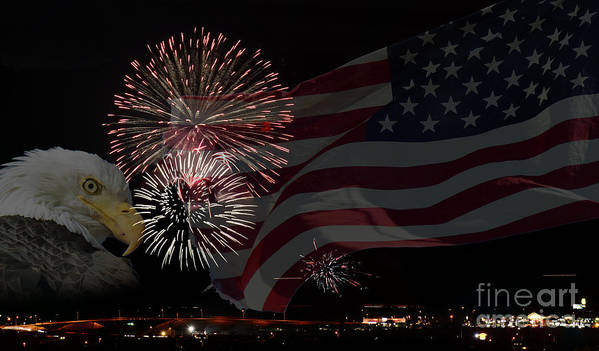 Fireworks Art Print featuring the photograph Patriotic by Dianne Phelps
