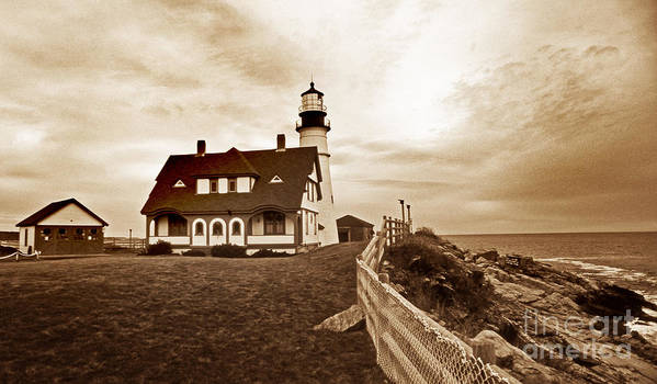 Lighthouses Art Print featuring the photograph Portland Head Lighthouse In Sepia by Skip Willits