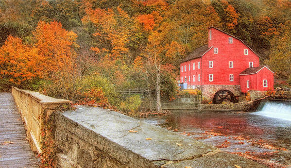 Red Mill Art Print featuring the photograph Red Mill With Texture by Pat Abbott