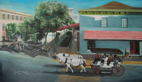 Art Print featuring the painting Savannah City Market by Jude Darrien