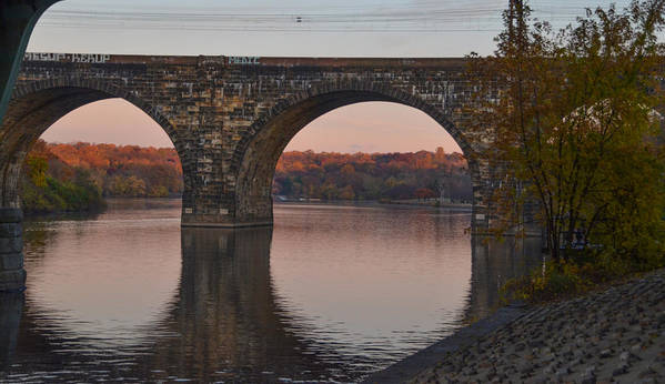 Schuylkill Art Print featuring the photograph Schuylkill River Railroad Bridge In Autumn by Bill Cannon