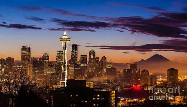 Seattle Art Print featuring the photograph Seattle Fog Sunrise by Mike Reid
