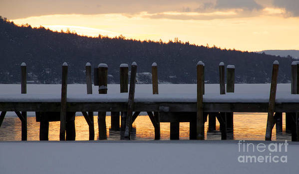 Meredith Art Print featuring the photograph Snow Covered Docks by Michael Mooney