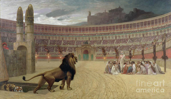 Arena; Stadium; Lion; Trap Door; Death; Martyr; Martyrdom; Roman; Praying; Christian; Rome; Kneeling; Crucifixion; Crucifix; Crowd; Spectators; Religious Persecution; Amphitheatre; Ramp; Forum; Martyr Art Print featuring the painting The Christian Martyrs Last Prayer by Jean Leon Gerome