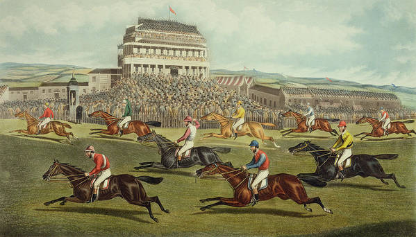 Finishing Post Art Print featuring the painting The Liverpool Grand National Steeplechase Coming In by Charles Hunt and Son