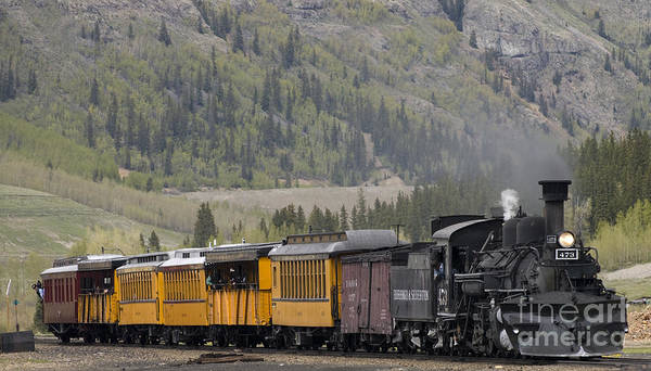 Cumbres & Toltec Art Print featuring the photograph Train Arriving In Silverton by Tim Mulina