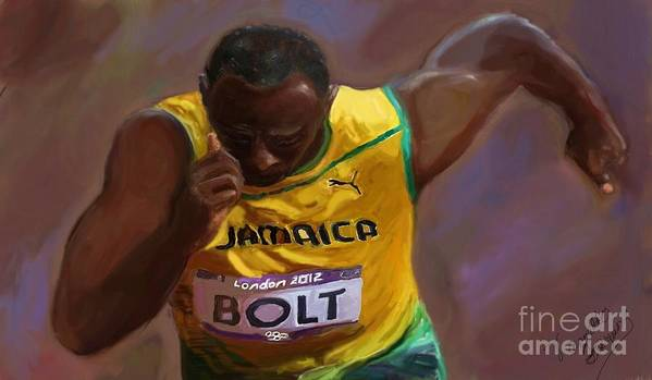 African American 2012 Olympians. Art Print featuring the painting Usain Bolt 2012 Olympics by Vannetta Ferguson