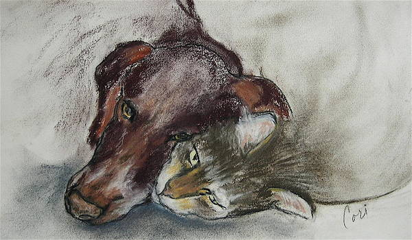 Dog Art Print featuring the drawing Whisker To Whisker by Cori Solomon
