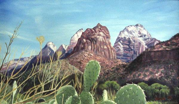 Zion Art Print featuring the painting Zion National Park by Sharon Casavant