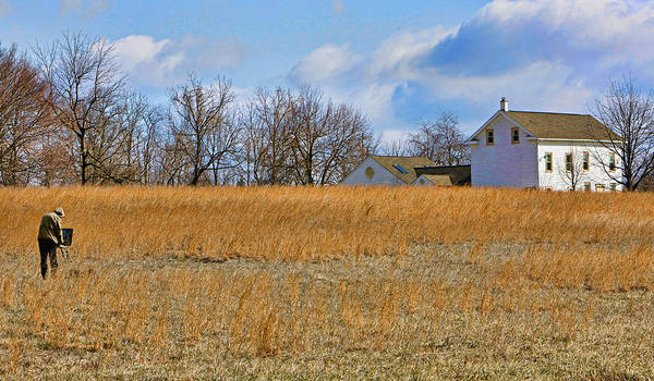 Bucks County Print featuring the photograph Artist In Field by William Jobes
