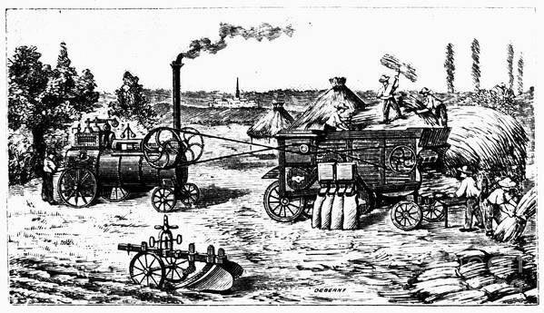 19th Century Art Print featuring the photograph France: Steam Threshing by Granger