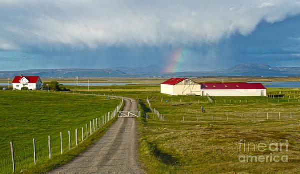 Rainbow Art Print featuring the photograph Rainbow Over Iceland Farm by Gregory Dyer