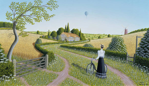 Naive; Landscape; Edwardian; Hot Air Balloon;female; Bicycle; Windmill; Rural; Bucolic; Country Lane;gate; Cornfield; Thatched Cottage; Woman; Dress; Hat; Green; Grass; Grassy; Flower; Flowers; Bush; Bushes; Tree; Trees; Corn; Field; Fields; Cottage Art Print featuring the painting Summer Cycling by Peter Szumowski