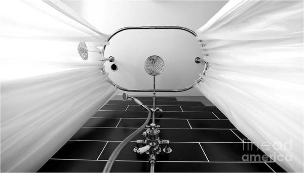 Shower Art Print featuring the photograph Underneath An Old Style Shower by Simon Bratt Photography LRPS