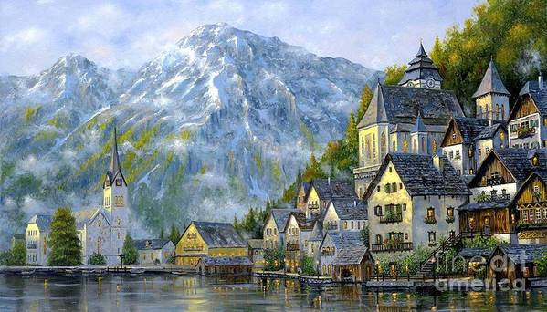 Landscape Art Print featuring the painting Verona Lake by Vishal Lakhani