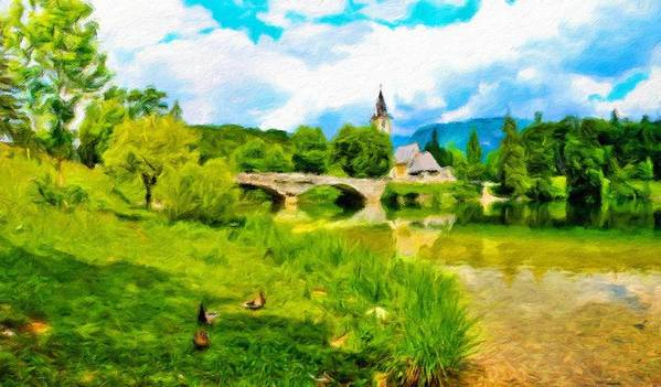 Landscape Art Print featuring the painting Nature Landscape Oil Painting For Sale by World Map