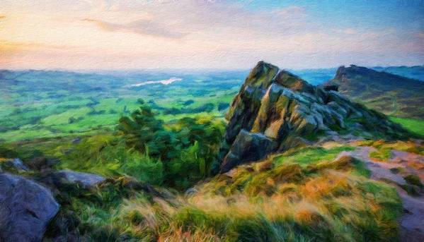 Landscape Art Print featuring the painting Nature Landscape Oil by World Map