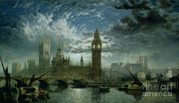 Big Ben;london;thames;river Print featuring the painting A View Of Westminster Abbey And The Houses Of Parliament by John MacVicar Anderson
