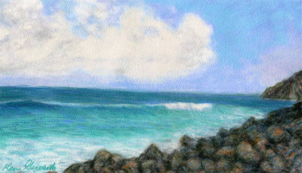 Rainbow Colors Pastel Art Print featuring the painting Around The Point by Kenneth Grzesik