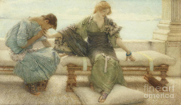 Ask Art Print featuring the painting Ask Me No More....for At A Touch I Yield by Sir Lawrence Alma-Tadema