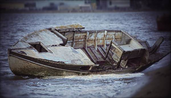 A Boat Wreck On A Riverside Walk Near Me. Art Print featuring the photograph Boat Wreck by Michelle Smith