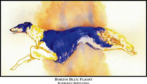Borzoi Art Print featuring the digital art Borzoi Blue Flight by Kathleen Sepulveda