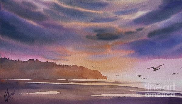 Landscape Fine Art Print Art Print featuring the painting Brilliant Sunset by James Williamson