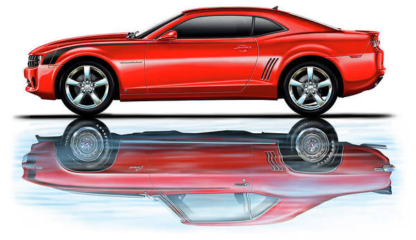 Camaro Art Print featuring the digital art Camaro 2010 Reflects Old Red by David Kyte
