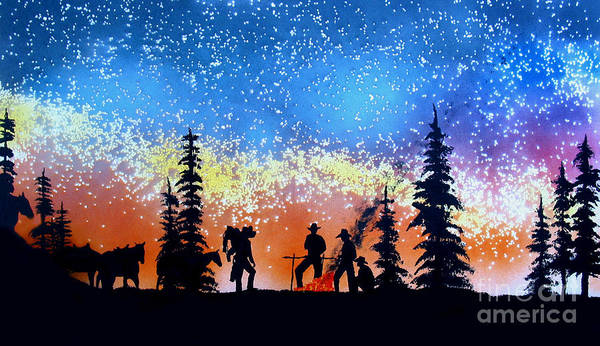 Cowboy Art Print featuring the painting Campfire Tales by Ed Moore