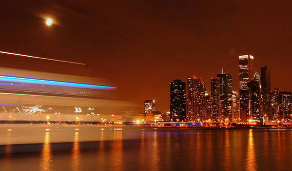 Moonlight Art Print featuring the photograph Chicago At Night by Evia Nugrahani Koos
