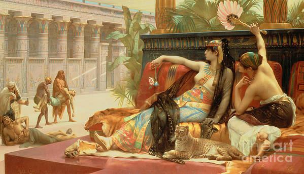 Egypt Art Print featuring the painting Cleopatra Testing Poisons On Those Condemned To Death by Alexandre Cabanel