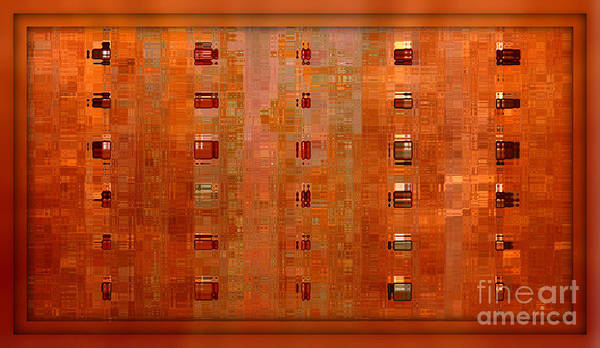 Digital Art Abstract Art Print featuring the digital art Copper Abstract by Carol Groenen