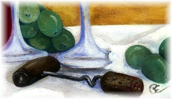 Wine Art Print featuring the painting Cork Screw by Penny Everhart