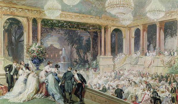 Dinner Print featuring the painting Dinner At The Tuileries by Henri Baron