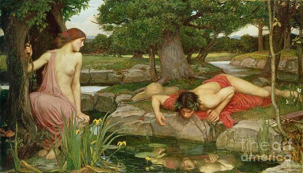 John William Waterhouse Art Print featuring the painting Echo And Narcissus by John William Waterhouse