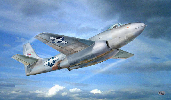 Aviation Art Digital Aviation Pictures Airplane Art Print featuring the painting Experimental Jet Fighter Xp-83 In Fly by Alex Arkhipau