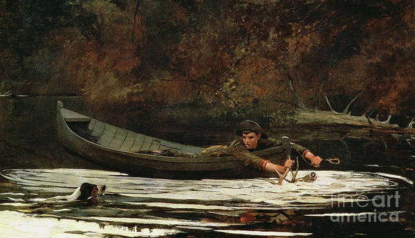 Hound And Hunter Art Print featuring the painting Hound And Hunter by Winslow Homer