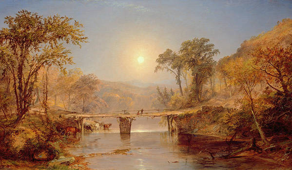 Sun Art Print featuring the painting Indian Summer On The Delaware River by Jasper Francis Cropsey
