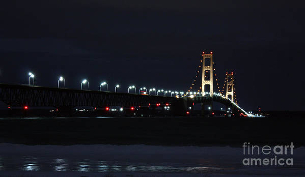 Mackinaw Bridge Art Print featuring the photograph Lights Of The Big Mac by Scott Heister