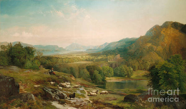 Thomas Moran Print featuring the painting Minding The Flock by Thomas Moran