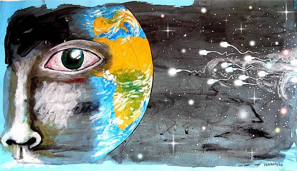 Our Cosmic Origin Print featuring the mixed media Our Cosmic Origin by Paulo Zerbato
