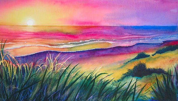Pacific Art Print featuring the painting Pacific Evening by Karen Stark