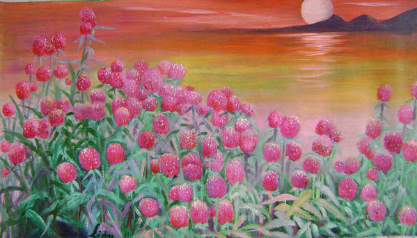 Floral Art Print featuring the painting Red Pearls by Lian Zhen