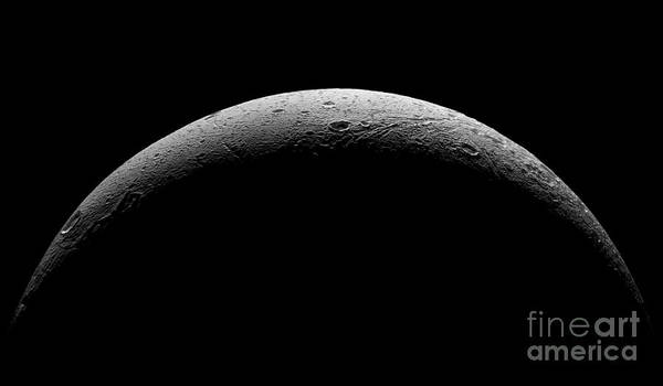 Astronomical Art Print featuring the photograph Saturn's Moon Dione by Nasa