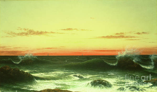 Seascape: Sunset Art Print featuring the painting Seascape Sunset 1861 by Martin Johnson Heade