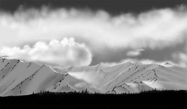 Landscape Mountains Clouds Snow Art Print featuring the painting Snow In The Mountains by John Shioli