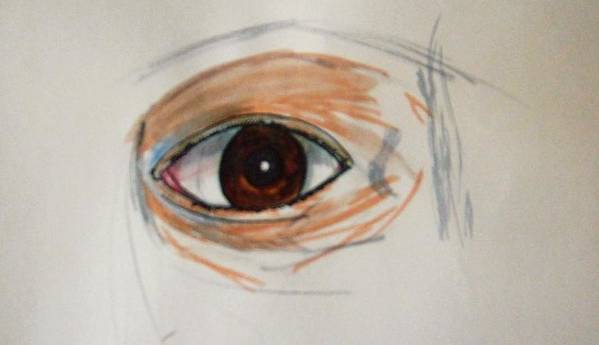 Eye/ Soul/ Brown/ See/ Vision/spiritaul Art Print featuring the drawing Soul I by Richard Hubal